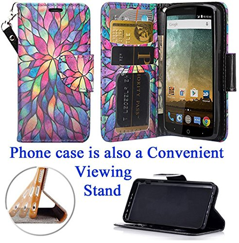 - for ZTE Uhura ULTRA Quest Legacy N817 Case Phone Case Designed Wallet Grip Textured Kick stand Hybrid Pouch Pocket Purse Screen Flip Cover (Stained Glass)