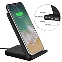 Wireless Charger and USB Charger UPWADE Fast Wireless Charging Pad Stand with 3 Model Input 2 Cooling Fan for Samsung Galaxy S8 S8+ S7 S7 edge S6 edge+ Note 5 Standard Charge for iPhone X 8 8 Plus