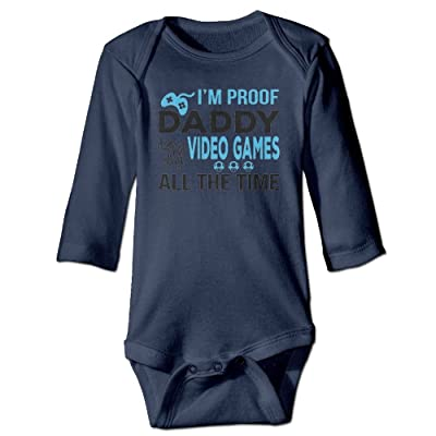 Gjtygdfhdty I'm Proof Daddy Does Not Play Video Games All The Time Baby Girls Boys Romper Bodysuit