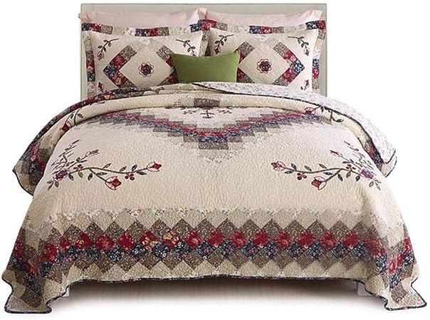 Colcha acolchada para cama de matrimonio, tamaño doble, king size 100% algodón lavado, 3 piezas moderno B beige: Amazon.es: Hogar