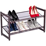 Yaheetech 2-Tier Metal Utility Shoe Rack Adjustable to Flat or Slant Shoe Organizer Holder Stand Shelves for Entryway Hallway Bedroom Closet- Space Saving Storage and Organization