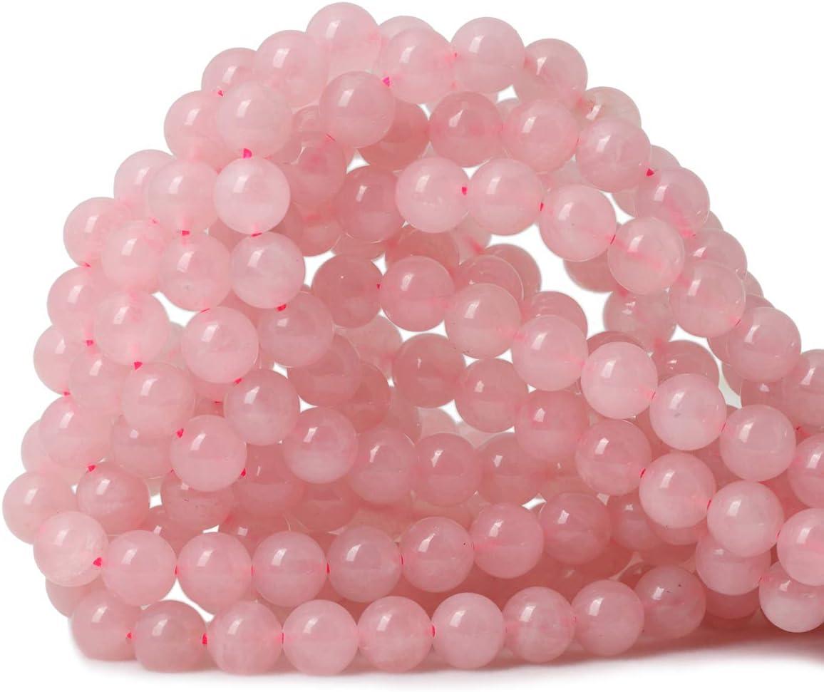 """Natural Pink Rose Quartz Crystal Round Semi Precious Beads 15/"""" Strand Big Hole"""