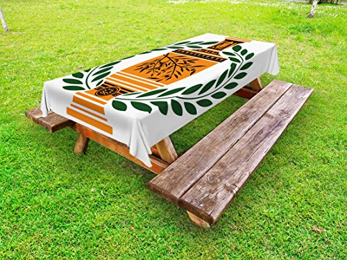 Ambesonne Toga Party Outdoor Tablecloth, Old Antique Greek Vase with Olive Branch Motif and Laurel Wreath, Decorative Washable Picnic Table Cloth, 58 X 84 inches, Hunter Green Orange Black by Ambesonne