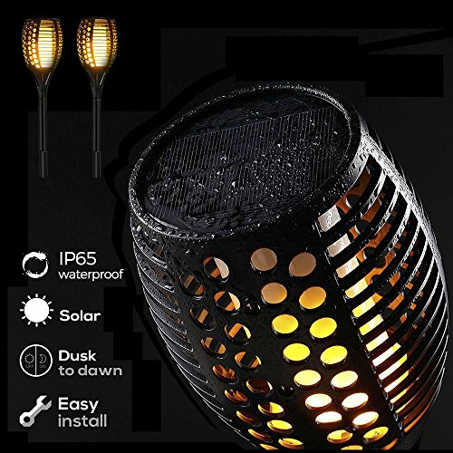 Solar Torch Lights Outdoor, Waterproof Flickering Tiki Torch