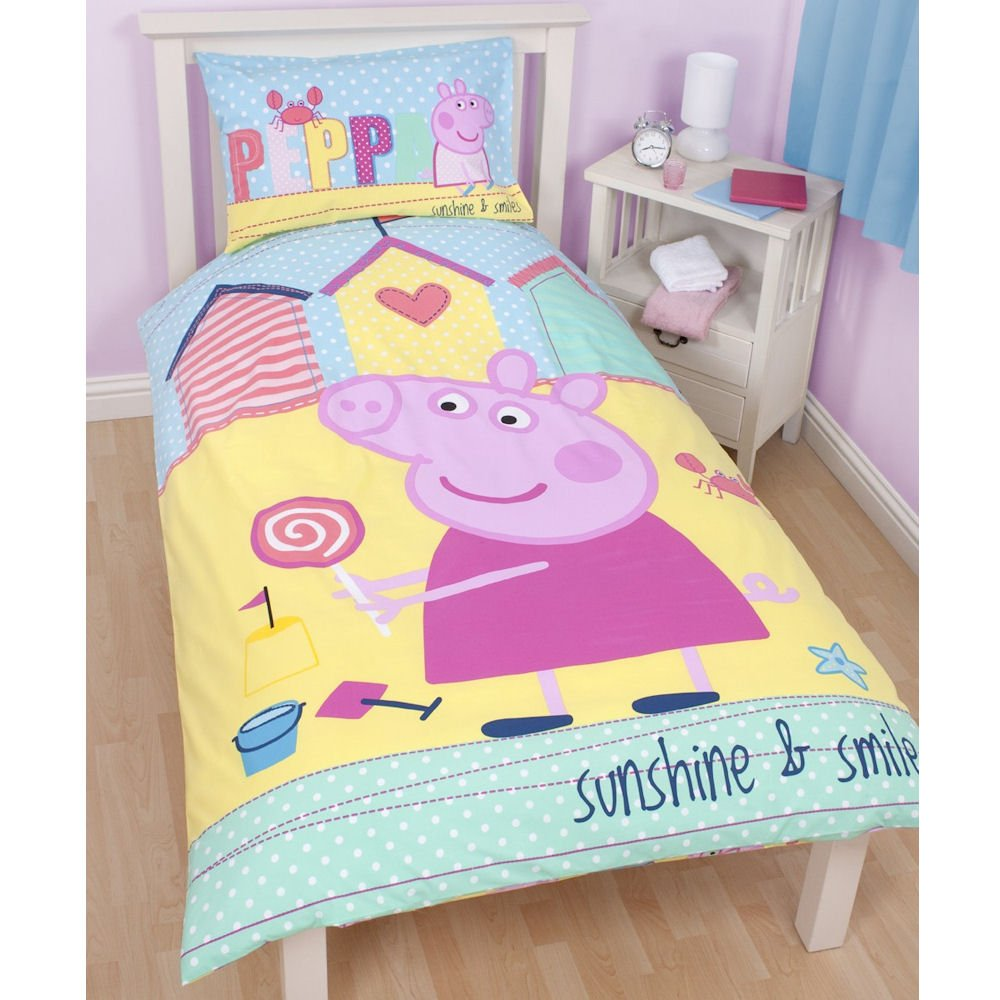 Amazon Childrens Kids Peppa Pig Quilt Duvet Cover Bedding Set Twin Bed Yellow Home Kitchen