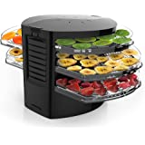 NutriChef PKFD19BK Kitchen Electric Countertop Food Dehydrator, Food Preserver with 5 Stackable Trays , Black Drawer
