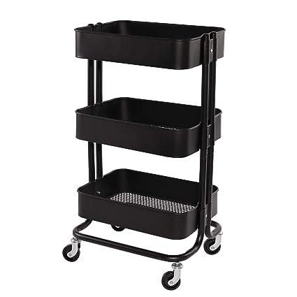 Amazoncom Walsport 3 Tier Rolling Cart Metal Mash Storage Organize