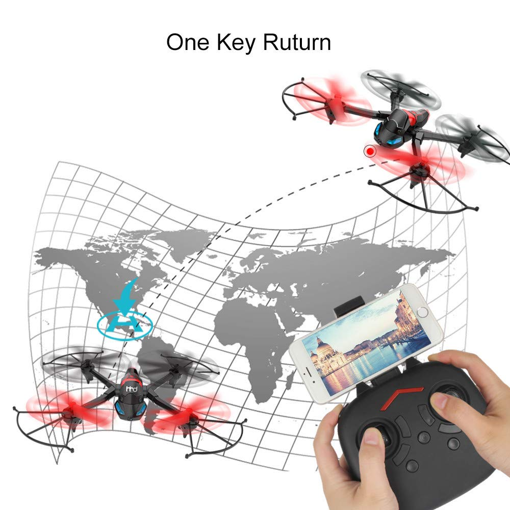 FPV Drone with Camera WiFi, RC Quadcopter 2.4G 6 Axis-Remote Control with Altitude Hold, Headless, Route Setting, One-Key Take-Off/Landing land-air-jump 3Mode Assemble Deformation (2.4G, Black) by S.H.EEE (Image #4)