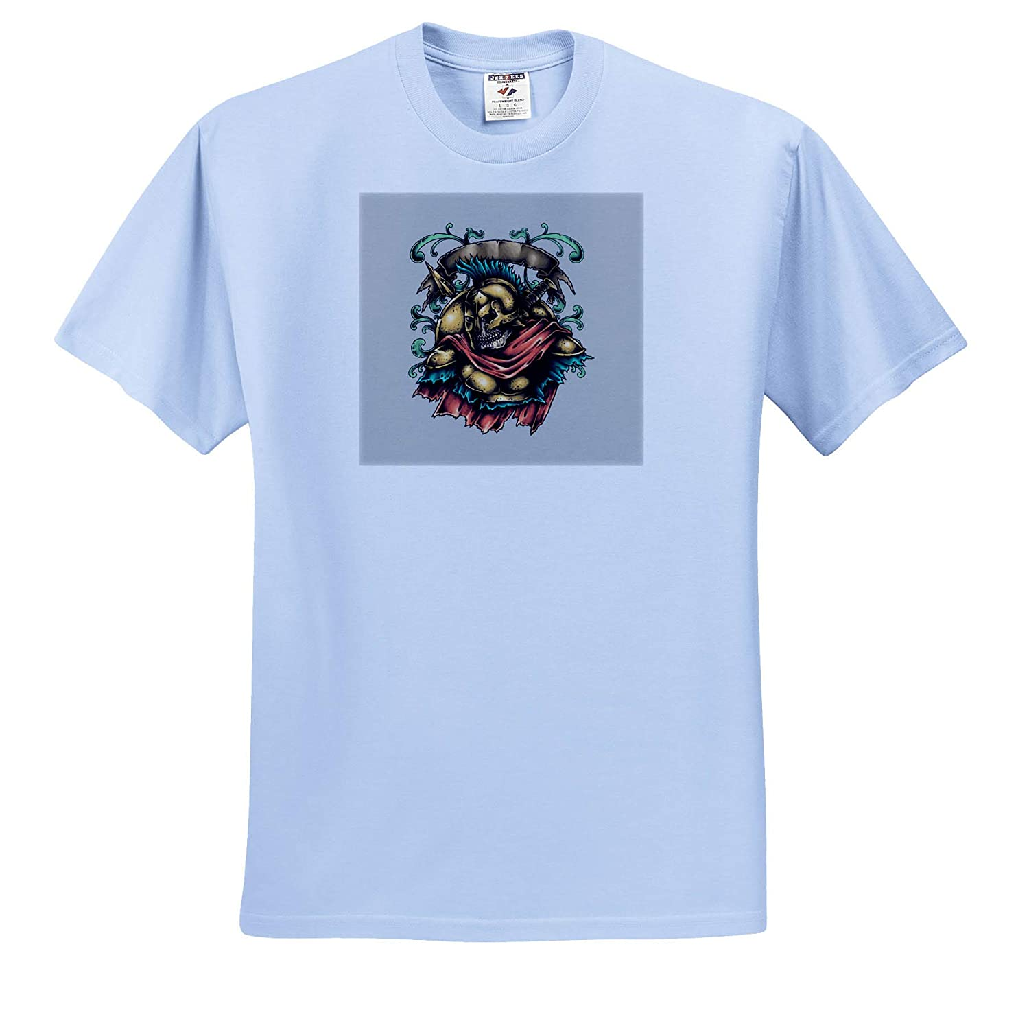 Skull T-Shirts 3dRose Alexis Design Colorful Image of Skull and Ancient Greek Armor