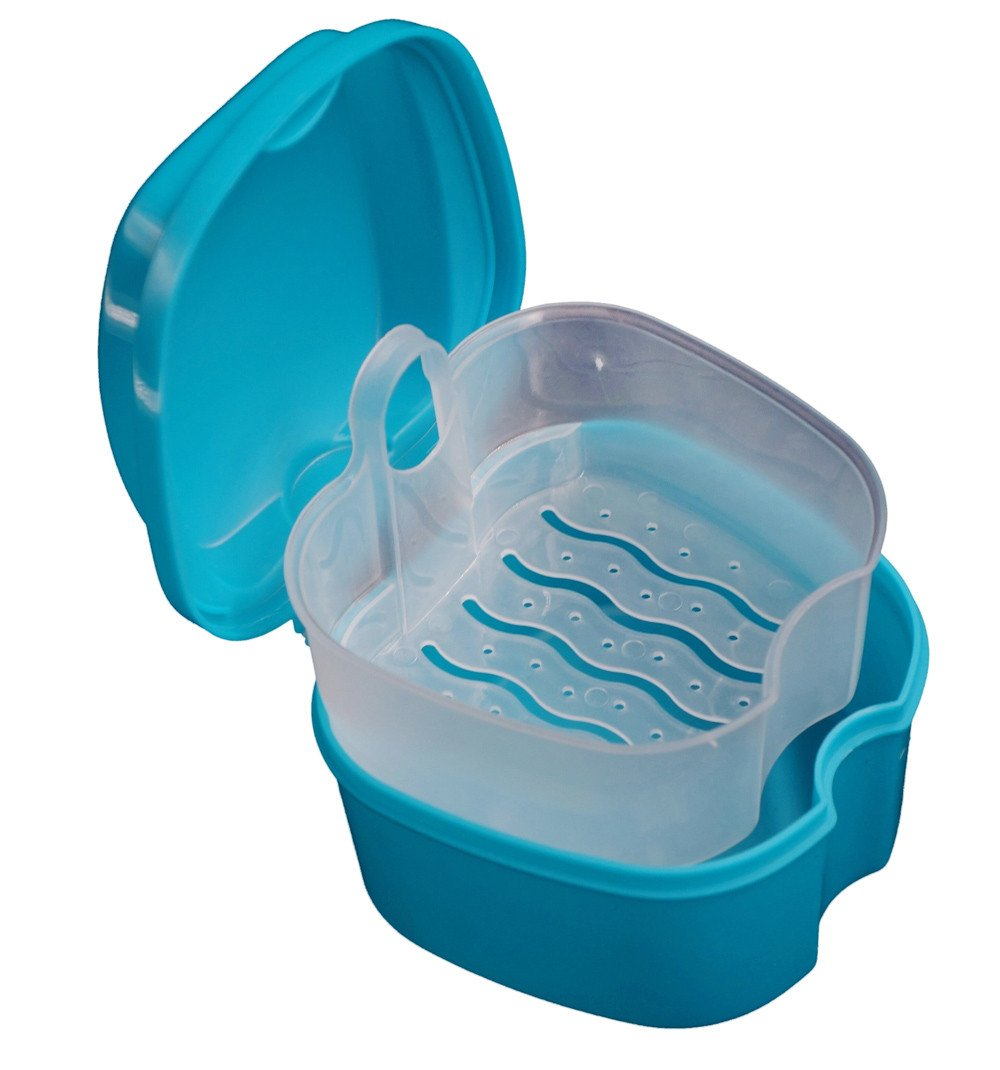 Denture Case, Hoshell 1PC Denture Bath Box Case Dental False Teeth Storage Box with Hanging Net Container
