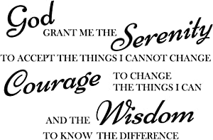Newclew God Grant me The Serenity to Accept Things I can not Change, The Courage to Change Things i can (22Wx14H, Black)