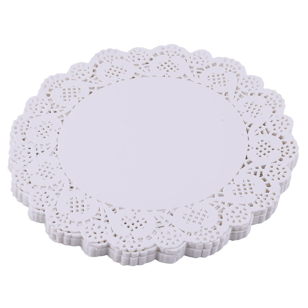 100Pcs Round Paper Lace Doilies Cookies Cake Placemat Wedding Party Decorations