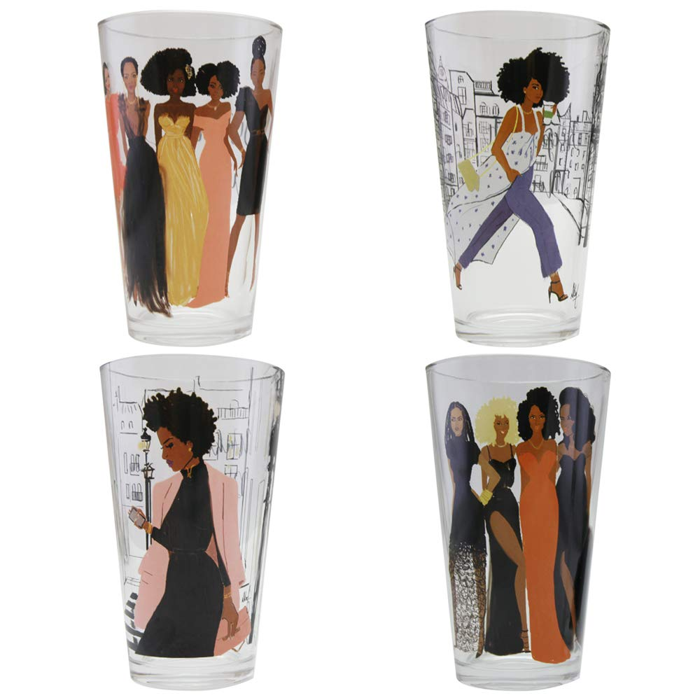 African American Expressions - Sister Friends Drinking Glass Set (17 oz. glass, 5.75'' x 3.5'') DGL-04