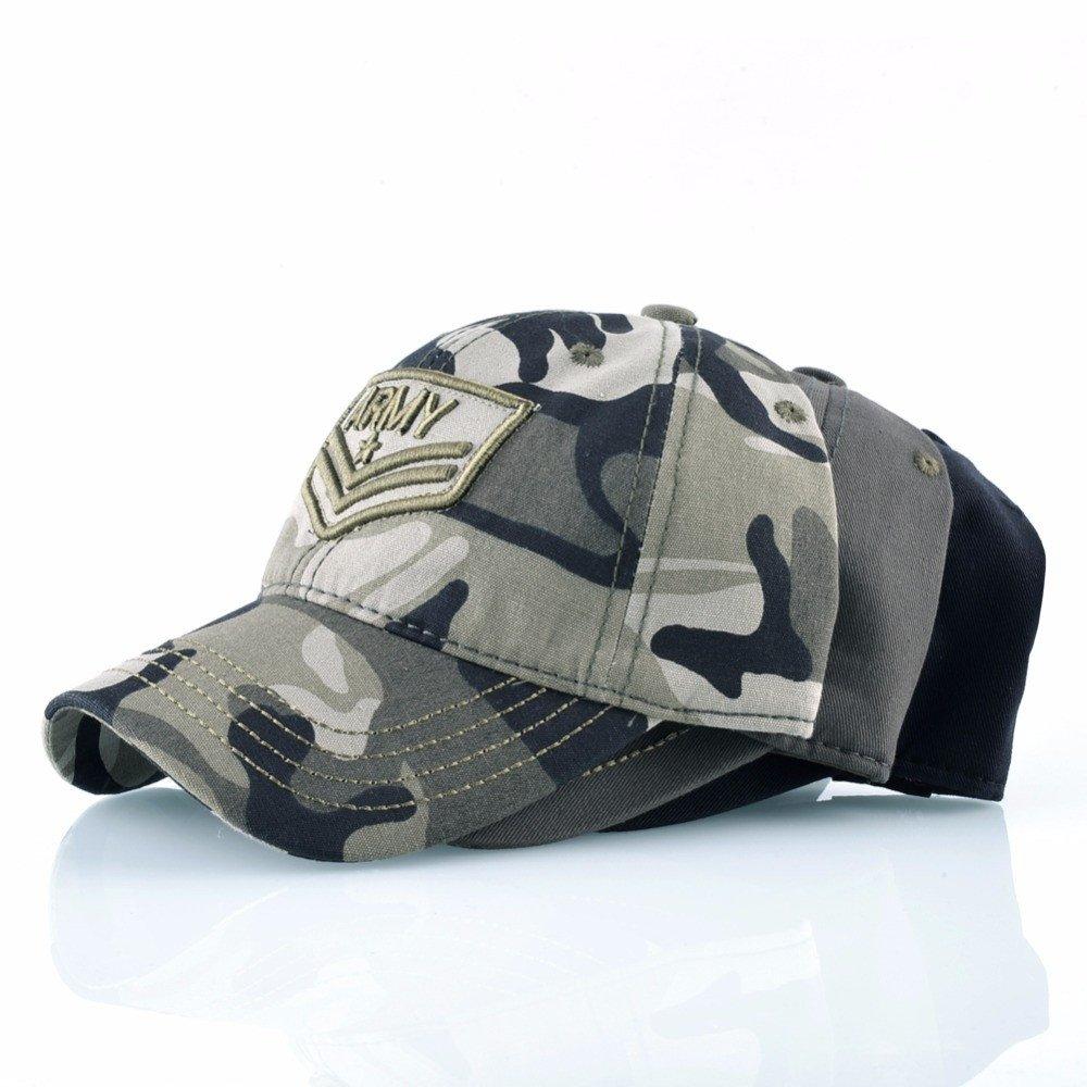 Gorra de béisbol de gorras de camuflaje del Ejército táctico bordados sombreros Deportes algodón huesos Camo Hat para Camping Viaje Hip-Hop Trucker Hat Don ...