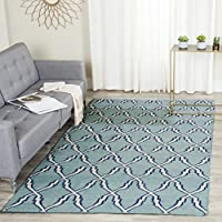 Safavieh Dhurries Collection DHU564B Hand Woven Light Blue and Ivory Premium Wool Area Rug (8 x 10)