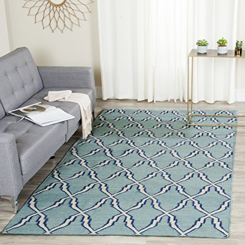 Safavieh Dhurries Collection DHU564B Hand Woven Light Blue and Ivory Premium Wool Area Rug (5' x 8') by Safavieh