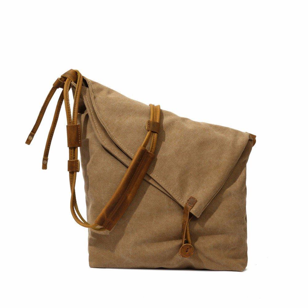 YDIUDIU Canvas Tasche retro literarischen Stoff Schulter diagonale Leinwand mit Leder Tasche für Damen, khaki