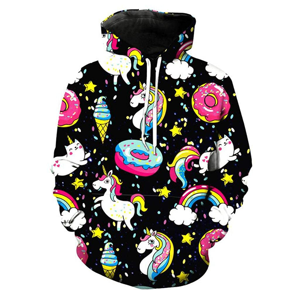 TIMMIYA Girls' Cute Doughnut Unicorn Rainbow Black Hoodie