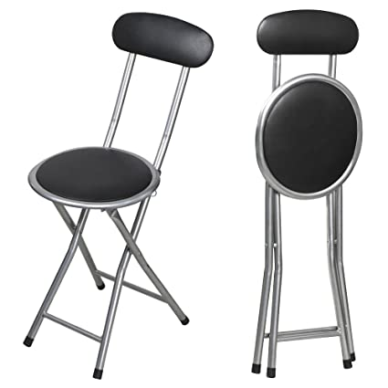 Enjoyable Tinxs Black Round Padded Folding High Chair Breakfast Kitchen Stool Soft Seat Capacity 264Lbs Unemploymentrelief Wooden Chair Designs For Living Room Unemploymentrelieforg
