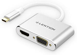 LENTION USB C to HDMI & VGA Adapter, Up to 4K/30Hz Digital AV HDMI Output Compatible 2020-2016 MacBook Pro 13/15/16, New Mac Air/iPad Pro, New Surface, Chromebook, More (CB-C51s, Silver)