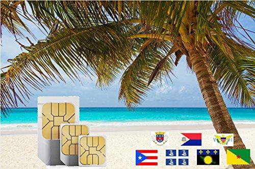 Caribbean (Incl Martinique, Puerto Rico, Saint Martin) 9GB Prepaid Fast Internet Data SIM 42 Countries 30 Day Plan (3000min free to The UK) by travsim