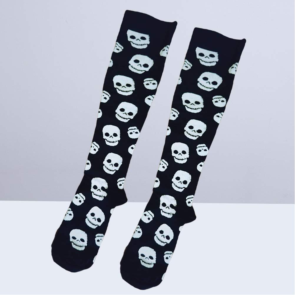 VORCOOL 1 par de Medias de compresión con patrón de Calavera Calcetines Largos Moda Calcetines de Halloween Hombres Mujeres Tamaño S/M (Negro): Amazon.es: ...