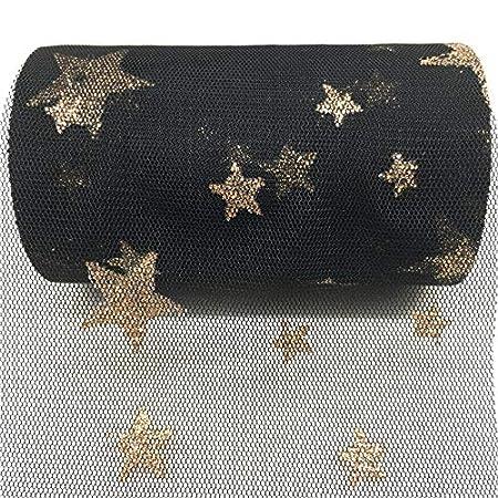 Rollo de tela organza negra con estrellas doradas costura, tutus ballet, disfraces Navidad, bodas, escaparates, Festivales, manualidades cole 9.20 m X 15 cm ...