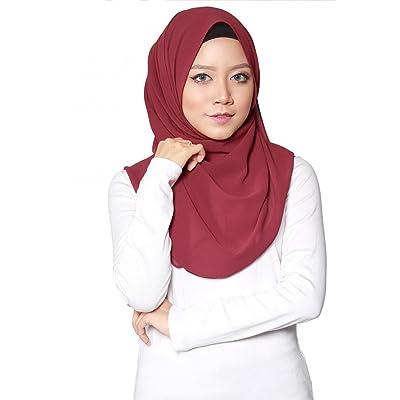 ❤️ SAFIYA - Hijab para mujeres musulmanas con velo I Hiyab pañuelo de cabeza turbante pashmina chal gorro islámico I Gasa muselina de seda I Rojo burdeos - 75 x 180cm: Ropa y accesorios