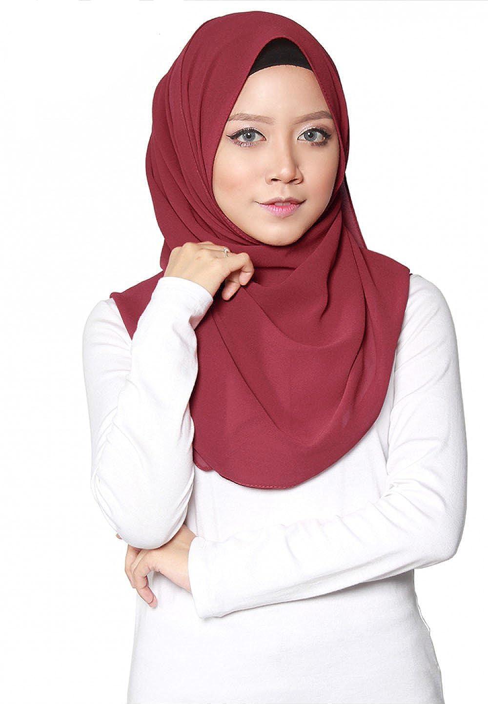 SAFIYA - Hijab per donne musulmane velate | Foulard velo turbante sciarpa pashmina scialle islamico cuffia abaya | Chiffon | Bordò - 75x180cm ✅ HBCFNBORDEAUX