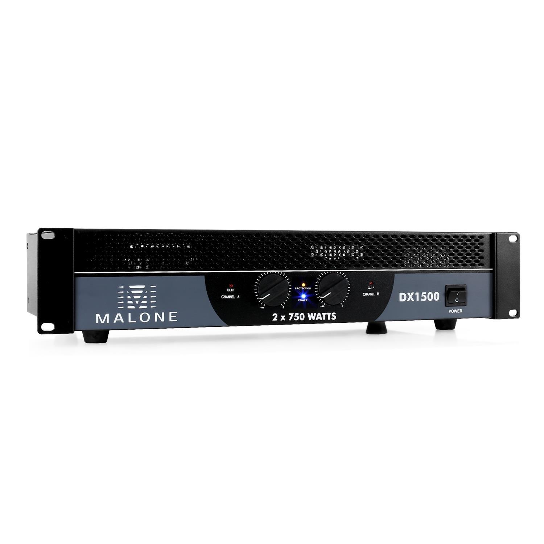 Malone DX1200 Ampli sono Amplificateur PA (2 x 600W à 4 Ohms, 2 x 400W à 8 ohms, 1200W de puissance pontée sous 8 ohms, bridgeable pour fonctionnement 1/2 canaux)