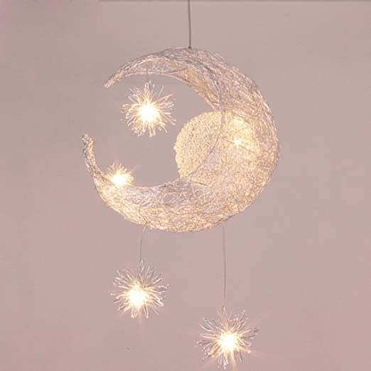 Silver Aluminum Fairy Moon And Star Ceiling Lamp Pendant Light For