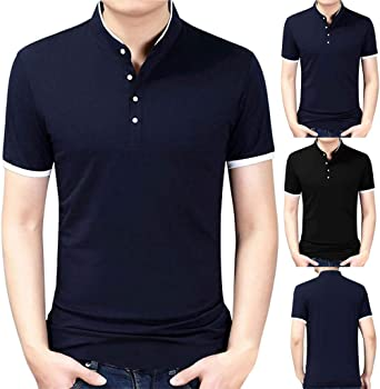 POLP Polos de Golf para Hombre Casual Manga Corta Camiseta Clásica Cuello de Solapa Moda de Hombre Blusas y Camisas de Acampada y Marcha para Hombre Top con Blusa Soltero Botón M/L/XL-5XL: