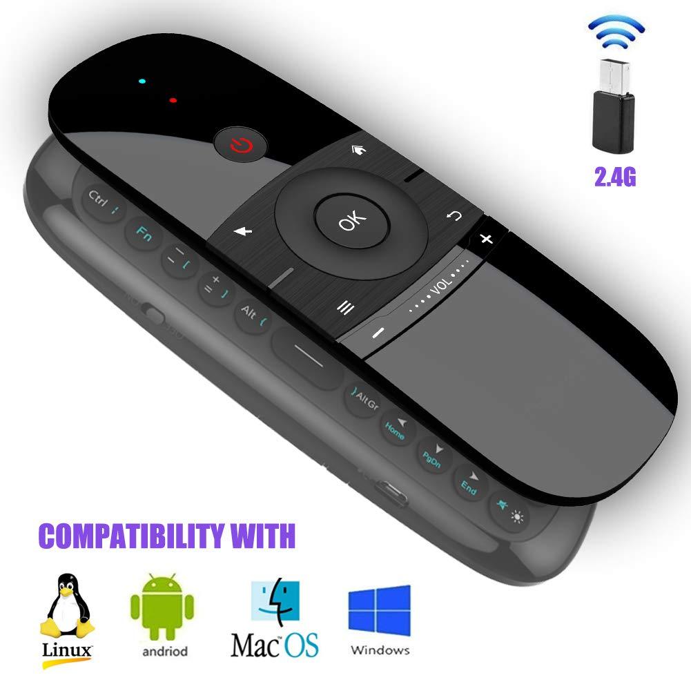 キーボード付きエアマウス W1 2.4Ghz ミニワイヤレスリモートキーボード ジャイロ付き 赤外線学習リモコン Android TVボックス ミニPC スマートTV プロジェクター HTPC ノートパソコン オールインワン PC/TV用   B07HQN4B95