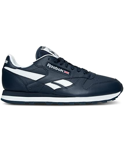 Reebok Mens CL Leather CU Fashion Sneakers Collegiate NavyWhite 12 DM
