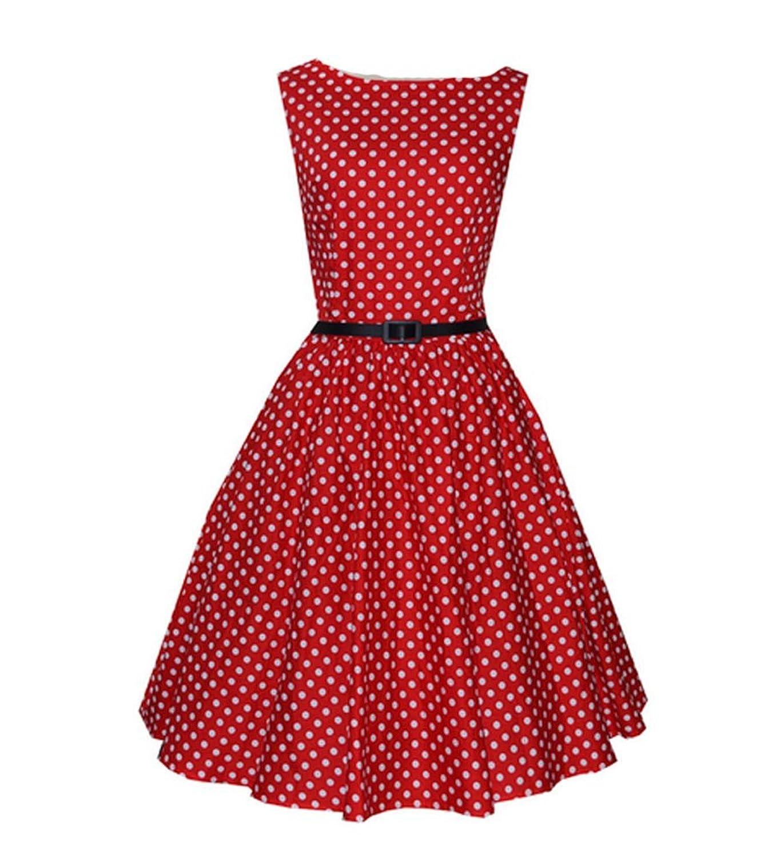 Ghope Damen Elegant Rundhals Trägerkleid 1950er Retro Polka Dots Cocktailkleid Faltenrock Kleid