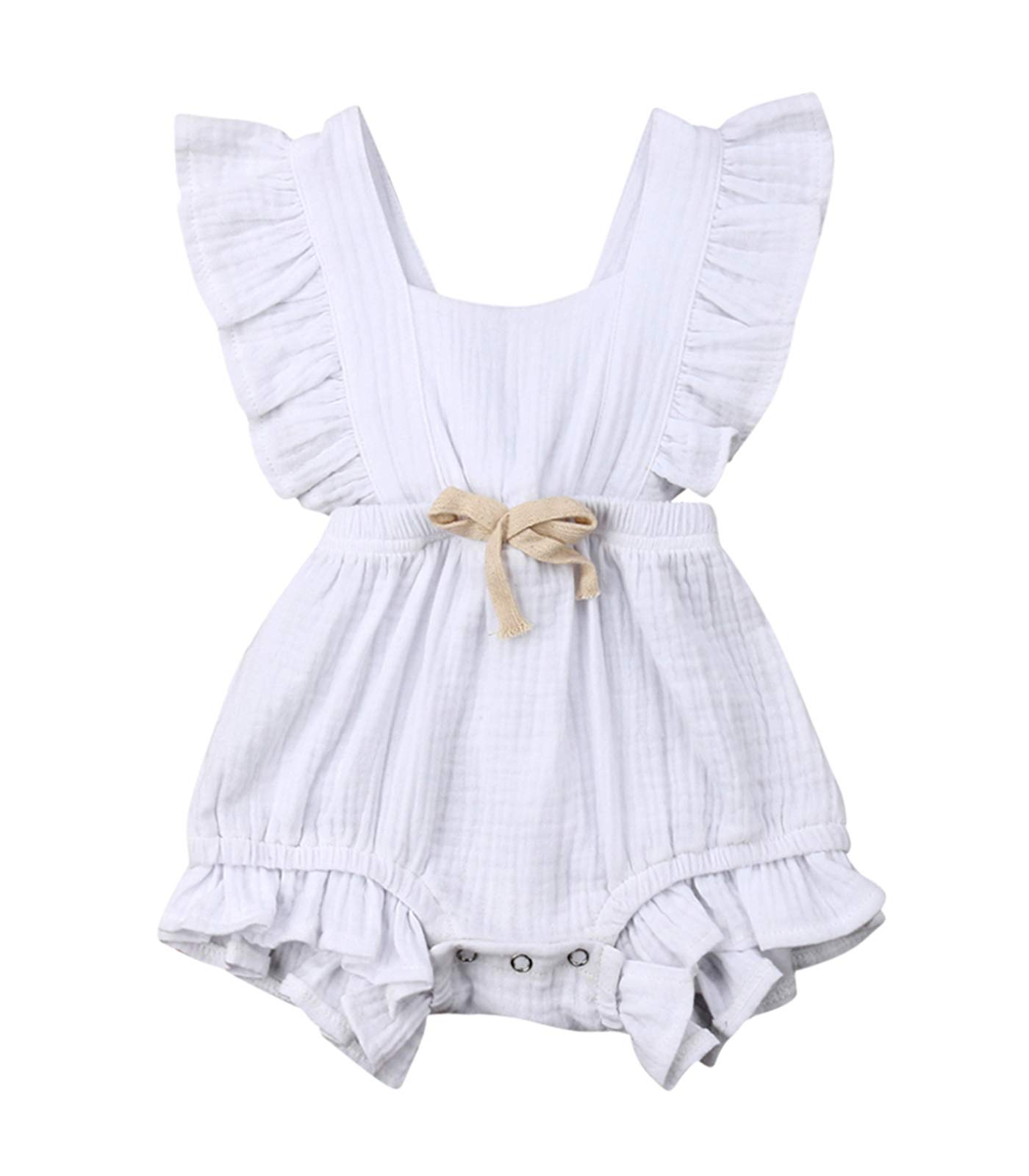 VISGOGO Toddler Baby Girl Ruffled Rompers Sleeveless Cotton Romper Bodysuit Jumpsuit Clothes (18-24 Months, White)