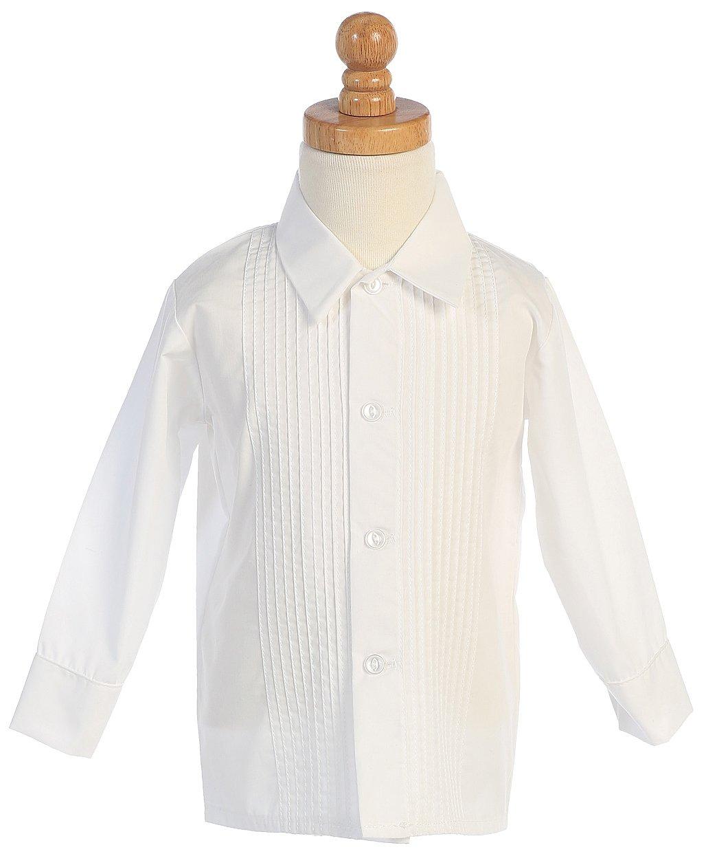 Boys White Long Sleeved Child's Pleated Tuxedo Dress Shirt - 2T