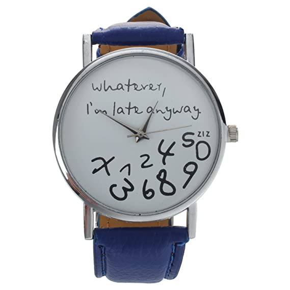 """Whatever I am Late Anyway"" Inglés alfabeto reloj de pulsera – TOOGOO ("