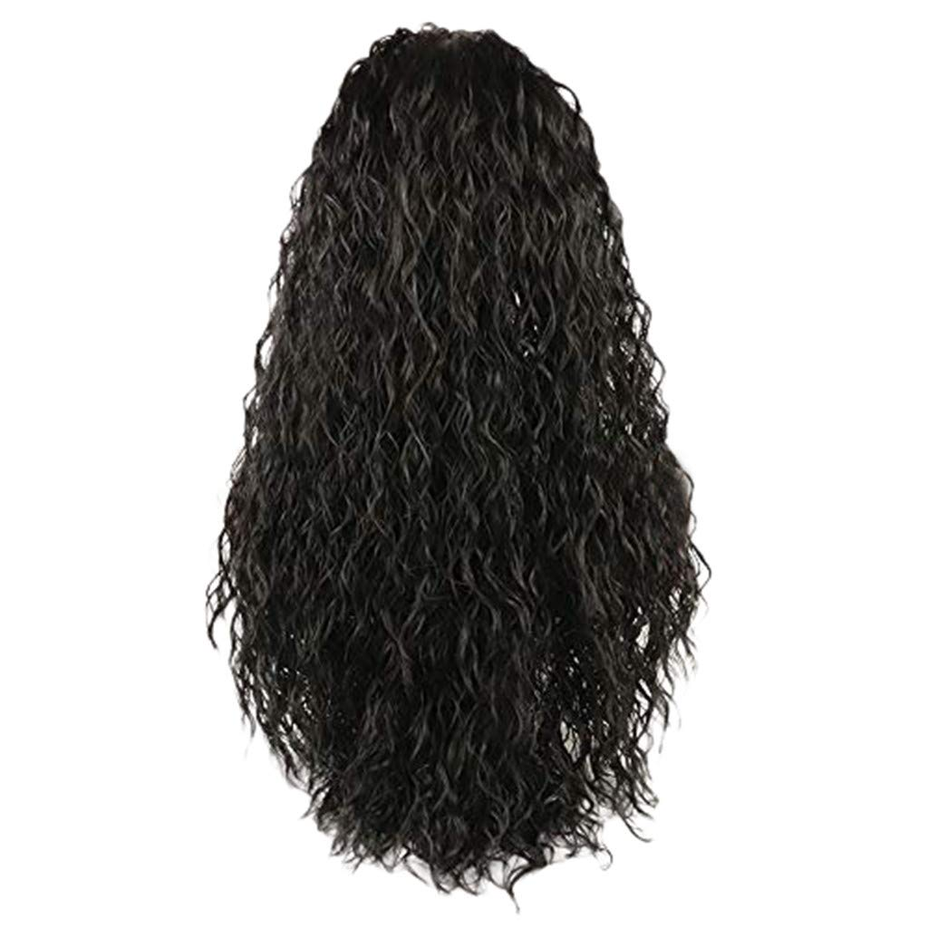 Wig,SUPPION 24inch Brazilian Less Lace Front Full Wig Long Wave Black Natural Looking Women Wigs - Cosplay/Party/Costume/Carnival/Masquerade (A)