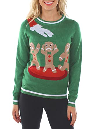 womens ugly christmas sweater the gingerbread nightmare funny sweater green size xs - Funny Ugly Christmas Sweaters