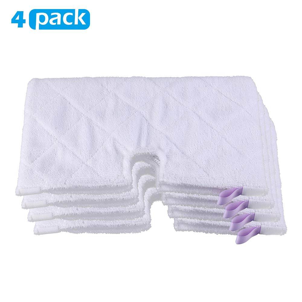 Magicmops 4 Pack Microfiber Steam Pocket Mop Pads Compatible for Shark Euro Pro Mop Head S3500 Series,S3501,S3601,S3550,S3901,S3801,SE450,S3801CO, S3601D,SE450,Machine Washable, Reusable -White