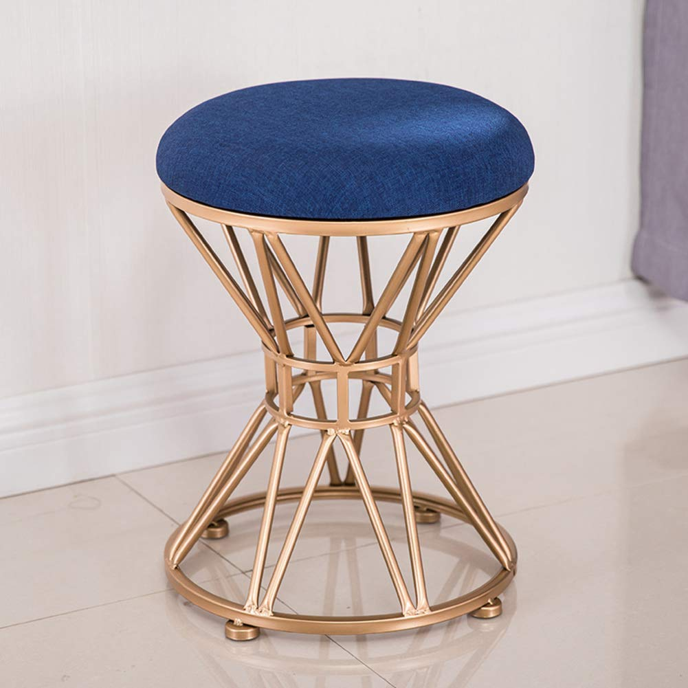 A 34x45cm(13x18inch) Round Metal Stool,Flannel Fabric Make up Stool,Modern upholstered Footstool for Home-A 34x45cm(13x18inch)