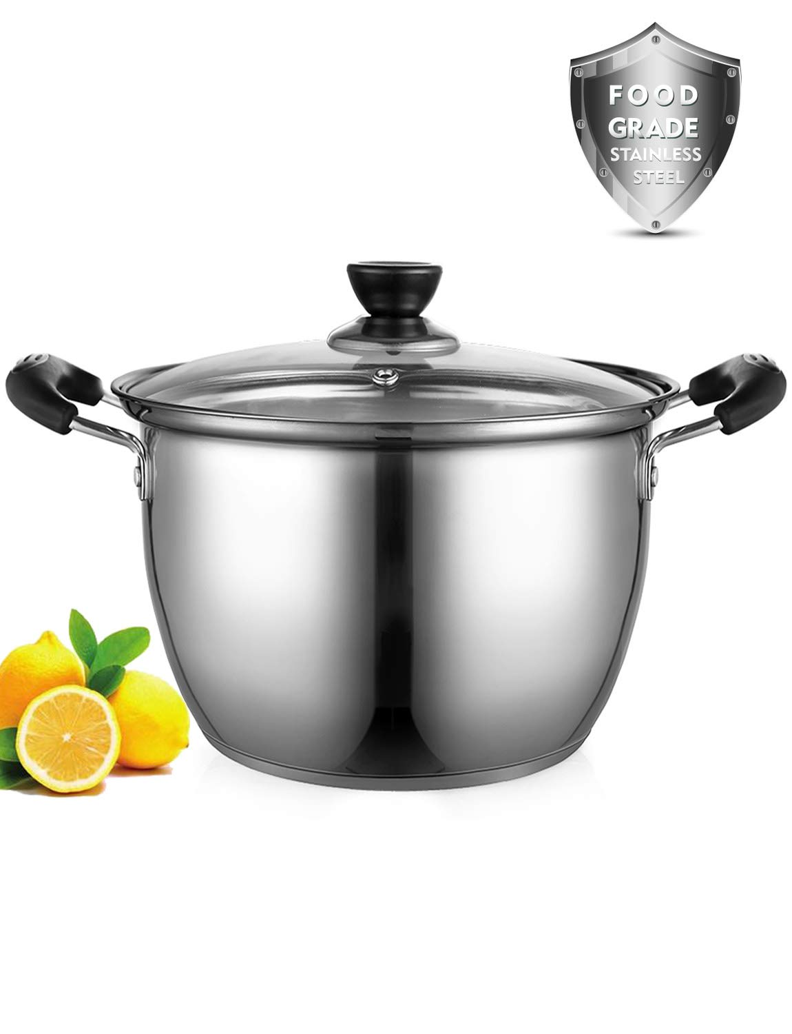 Stock Pot, ONEISALL 6 Quart Stockpot Thicker Stainless Steel Large Induction Pot with Lid, Anti-Scalding Safety Handle and Fast Heating for Induction Cooktop, Gas Stoves, Oven by ONEISALL