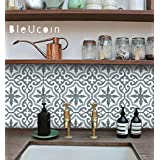 Moroccan Blue Dusk Tile stickers, Kitchen and Bathroom Backsplash Tile Decal, Stair Riser Stickers, Peel and Stick Home (Pack of 44) (10cm x 10cm Centimeters)