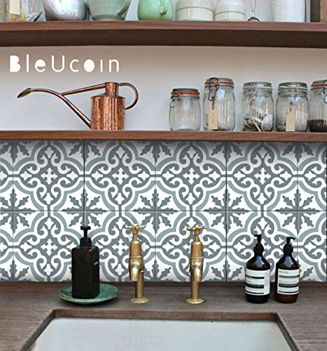 Moroccan Blue Dusk Tile stickers, Kitchen and Bathroom Backsplash Tile Decal, Stair Riser Stickers, Peel and Stick Home (Pack of 44) (8'' x 8'' Inches) by Bleucoin