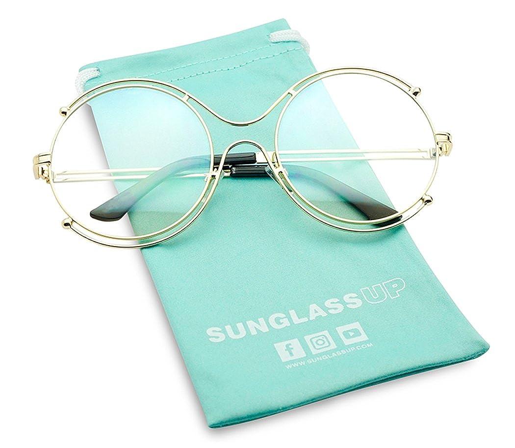 0d3cc769a2f9 Amazon.com  Extra Large Unisex Modern Non-Prescription Retro Round Double  Metal Wire CLear Lens Fashion Frame Glasses (Gold
