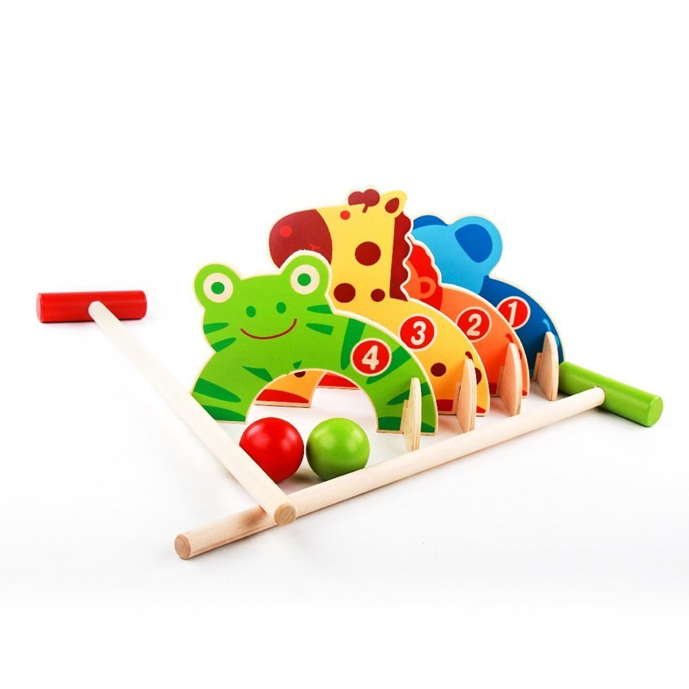 KINGZHUO Wooden Garden Croquet Set Cute Children's Cartoon Baseball Croquet Sports Games Animal Gate Ball Golf Early Educational Kids Toy Gift by KINGZHUO