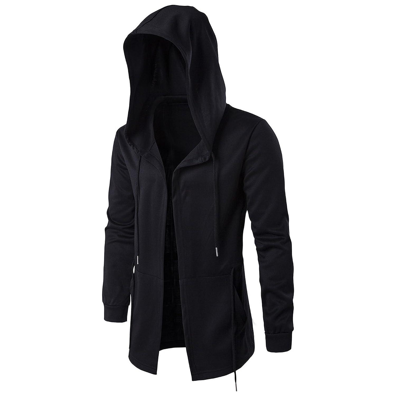 Elonglin Men's Hooded Open Edge Long Cardigan with Pockets Outwear Long Sleeve Black El.AW-XD045