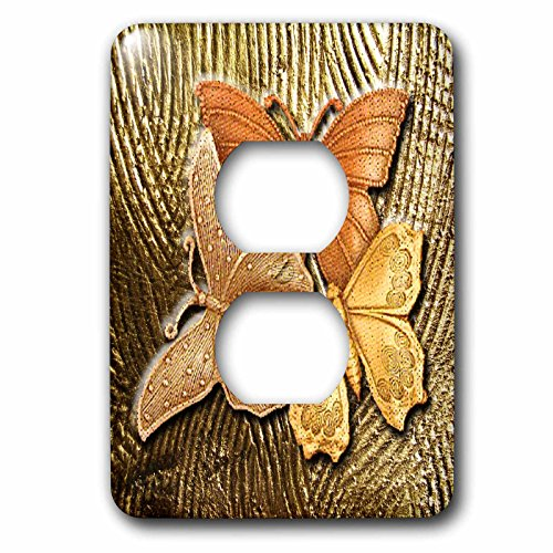 - 3dRose lsp_128812_6 Gold Embossed Background with Accents and Three Beautiful Butterflies in Golds, Yellows and Copper Light Switch Cover