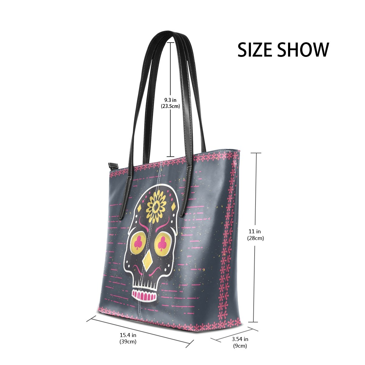 Womens Leather Top Handle Shoulder Handbag Art Skull Large Work Tote Bag